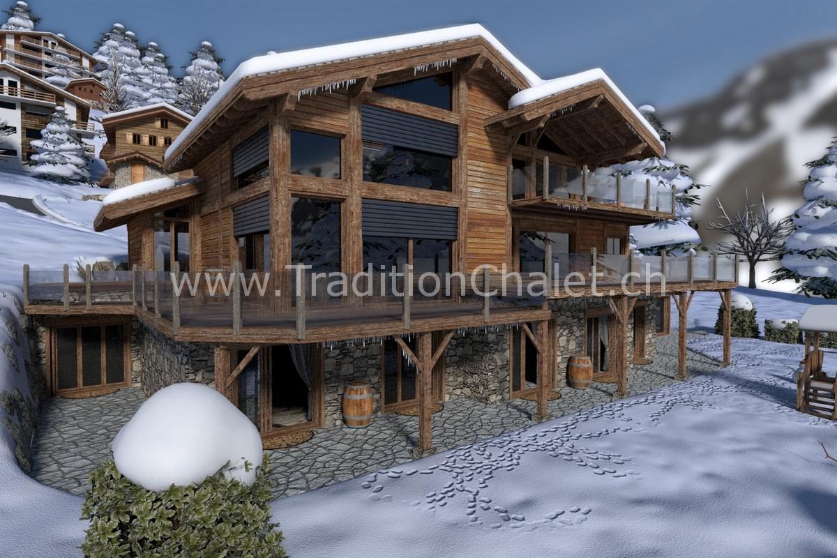 Tradition Chalet – Crans-Montana – Valais – Switzerland – Les Fermes de la Delege Chalet B