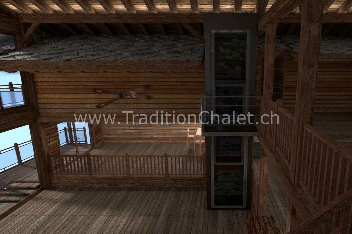 Tradition Chalet – Crans-Montana – Valais – Suisse – Chalet à vendre – Les Fermes de la Delege Chalet C – Perspective 3D